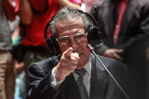 Former General Efrain Rios Montt testifying during the trial. Photo: Elena Hermosa / Trocaire, licensed under Creative Commons.
